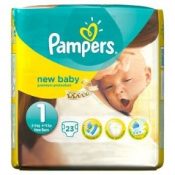 Pack 23 Couches Pampers New Baby taille 1