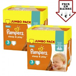 pack Jumeaux 448 Couches Pampers Sleep & Play taille 3