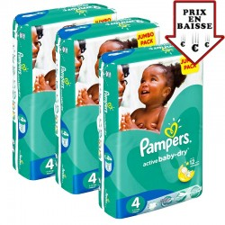 pack Jumeaux 588 Couches Pampers Active Baby Dry taille 4 sur 123 Couches