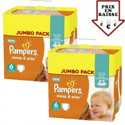 pack Jumeaux 348 Couches Pampers Sleep & Play taille 6 sur 123 Couches