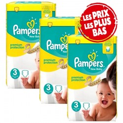Giga Pack 174 Couches Pampers Premium Protection - New Baby taille 3