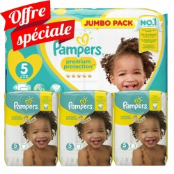 Maxi Giga Pack 340 Couches Pampers Premium Protection - New Baby taille 5