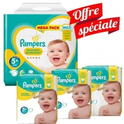 Maxi Giga Pack 416 Couches Pampers Premium Protection - New Baby taille 5+ sur 123 Couches