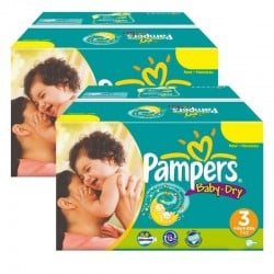 Mega Pack Jumeaux 408 Couches Pampers Baby Dry taille 3