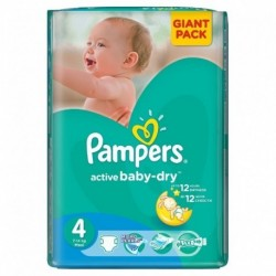 Pack 90 Couches Pampers Active Baby Dry taille 4 sur 123 Couches