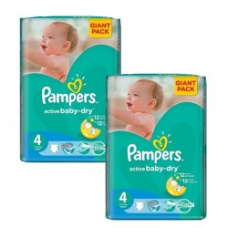 Mega Pack 270 Couches Pampers Active Baby Dry taille 4+ sur 123 Couches