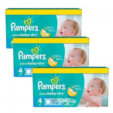 Giga Pack 360 Couches Pampers Active Baby Dry taille 4 sur 123 Couches