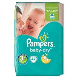 Pack 47 Couches Pampers Baby Dry taille 3+