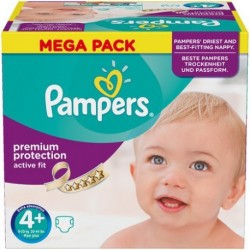 Pack 62 Couches Pampers Active Fit taille 4+ sur 123 Couches