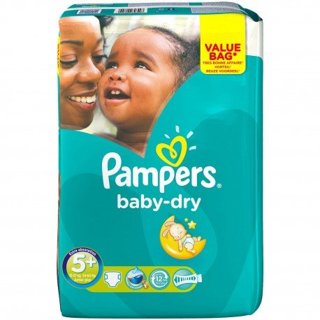 Pack 28 Couches Pampers Baby Dry taille 5+ sur 123 Couches