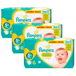 Maxi Giga Pack 135 Couches Pampers New Baby - Premium Protection taille 5+ sur 123 Couches