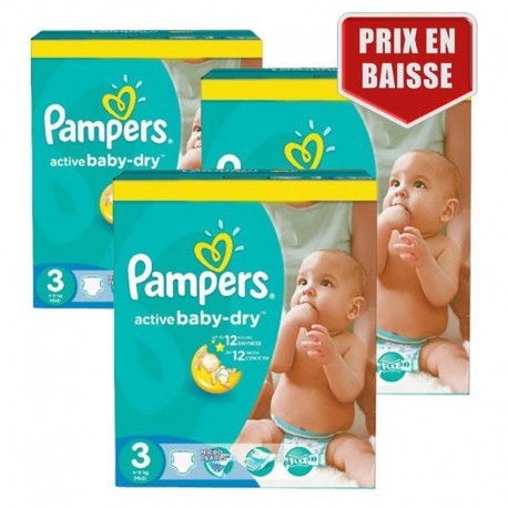 Giga Pack 432 Couches Pampers Active Baby Dry taille 3 sur 123 Couches