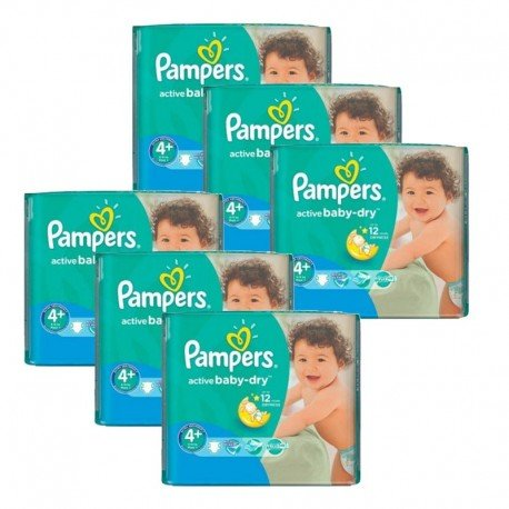 Giga Pack 288 Couches Pampers Active Baby Dry taille 4+ sur 123 Couches