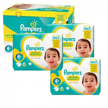 Mega Pack 248 Couches Pampers new baby - premium protection taille 4+ sur 123 Couches
