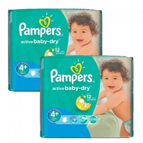 Giga Pack 108 Couches Pampers Active Baby Dry taille 4+ sur 123 Couches