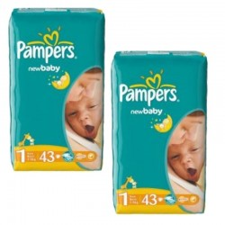 Pack 86 Couches Pampers New Baby Dry taille 1