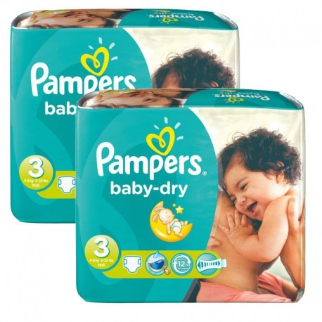 Pack 102 couches Pampers Baby Dry sur 123 Couches
