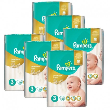 pack Jumeaux 480 Couches Pampers Premium Care - Prima taille 3 sur 123 Couches