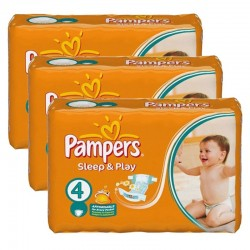 Maxi Pack 180 Couches Pampers Sleep & Play taille 4 sur 123 Couches