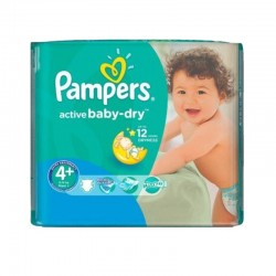 Pack 70 Couches Pampers Active Baby Dry taille 4+