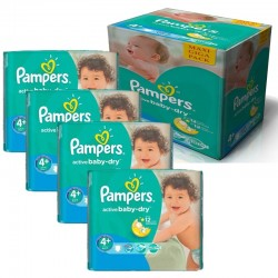 Maxi Pack 350 Couches Pampers Active Baby Dry taille 4+ sur 123 Couches