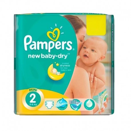 Pack 43 Couches Pampers New Baby Dry taille 2 sur 123 Couches