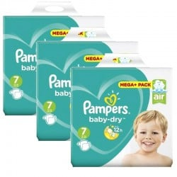 Mega Pack 174 Couches Pampers Baby Dry taille 7 sur 123 Couches