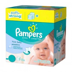 Pack de 528 Lingettes Bébés Pampers New Baby Sensitive - 66 Packs de 8 sur 123 Couches