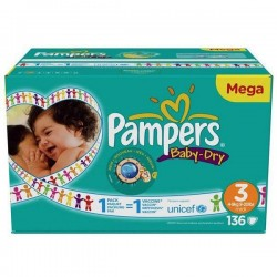 Pack 136 Couches de Pampers Baby Dry de taille 3
