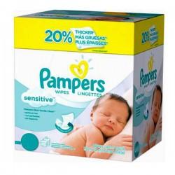 Pack économique d'une quantité de 648 Lingettes Bébés Pampers Sensitive - 12 Packs de 56 sur 123 Couches