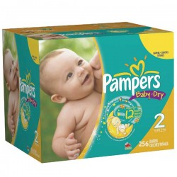 Pack économique 256 Couches de Pampers Baby Dry taille 2 sur 123 Couches