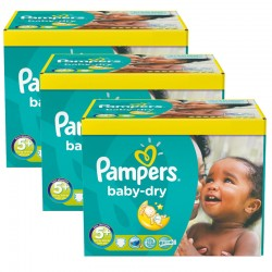 Giga pack 224 Couches Pampers Baby Dry taille 5+ sur 123 Couches