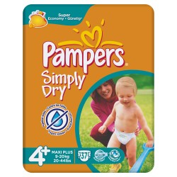 Pack 37 Couches Pampers Simply Dry taille 4+ sur 123 Couches