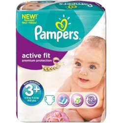 Pack de 352 Couches Pampers Active Fit taille 3+ sur 123 Couches