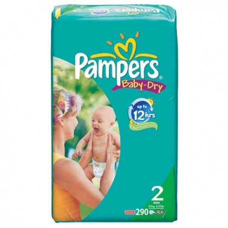 Pack 290 Couches Pampers Baby Dry de taille 2 sur 123 Couches